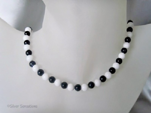 Midnight Navy Blue Sparkly Goldstone & White Agate Sterling Silver Necklace